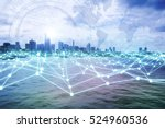 Small photo of modern city skyline and mesh network concept