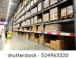 warehouse interior with staff. | Shutterstock . vector #524963320