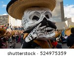Small photo of Mexico City, Mexico - October 29, 2016 : Day of the dead parade in Mexico city. The Day of the Dead is one of the most popular holidays in Mexico.