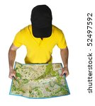 young tourist with map in his... | Shutterstock . vector #52497592