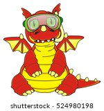 Happy Dragon In Diving Mask An...