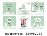 set of 6 cute gift cards and... | Shutterstock .eps vector #524982238