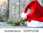 santa claus hat and xmas tree... | Shutterstock . vector #524991358