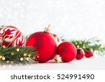 red christmas ornaments on... | Shutterstock . vector #524991490