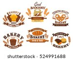 bakery shop signs of bread ... | Shutterstock .eps vector #524991688
