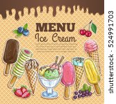 ice cream poster. wafer sketch... | Shutterstock .eps vector #524991703