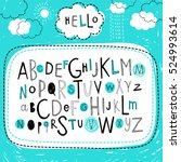 cute kids alphabet design. hand ... | Shutterstock .eps vector #524993614