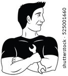 mechanic vector holding a... | Shutterstock .eps vector #525001660