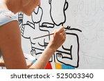 young beautiful blonde woman... | Shutterstock . vector #525003340