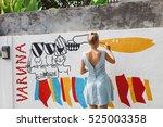 young beautiful blonde woman... | Shutterstock . vector #525003358