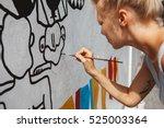young beautiful blonde woman... | Shutterstock . vector #525003364