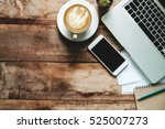office stuff with smart phone... | Shutterstock . vector #525007273