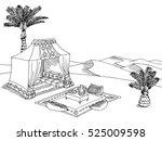 desert tent graphic black white ... | Shutterstock .eps vector #525009598
