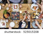 group of people dining concept | Shutterstock . vector #525015208