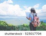 Woman Traveler Seeing On Map...