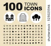 simple set of town related...   Shutterstock .eps vector #525025546