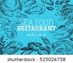 vector hand drawn sea food... | Shutterstock .eps vector #525026758