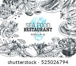 vector hand drawn sea food... | Shutterstock .eps vector #525026794