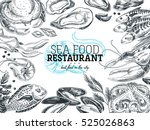 vector hand drawn sea food... | Shutterstock .eps vector #525026863