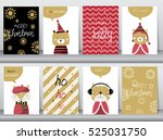 set of cute merry christmas ... | Shutterstock .eps vector #525031750
