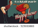 woman flirting. cocktail on the ... | Shutterstock .eps vector #525033883