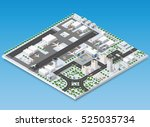 isometric 3d airstrip of the... | Shutterstock .eps vector #525035734