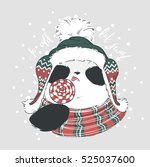 Panda In Scarf  Hat And Red...
