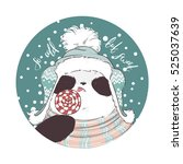 panda in scarf  hat and red... | Shutterstock .eps vector #525037639