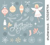 set of christmas graphic... | Shutterstock .eps vector #525039754