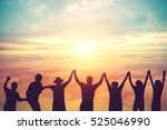 silhouette of group hipster... | Shutterstock . vector #525046990