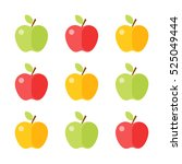 colorful apple icon set...   Shutterstock .eps vector #525049444