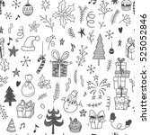 christmas decorations doodle... | Shutterstock .eps vector #525052846