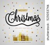 merry christmas gift poster.... | Shutterstock .eps vector #525053746