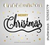 merry christmas poster. gold... | Shutterstock .eps vector #525053779