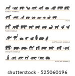 Stock vector vector black set of silhouettes pets forest and farm animals icon african and australian animals 525060196
