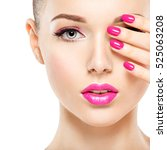 beautiful woman face with pink... | Shutterstock . vector #525063208