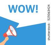 wow  announcement. hand holding ... | Shutterstock .eps vector #525063424