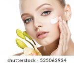 young woman with cosmetic ... | Shutterstock . vector #525063934