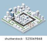 3d cityscape city street public ... | Shutterstock .eps vector #525069868