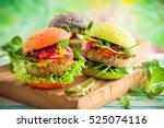 red  green black mini burgers... | Shutterstock . vector #525074116