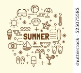 summer minimal thin line icons... | Shutterstock .eps vector #525075583