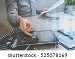 businessman working with... | Shutterstock . vector #525078169