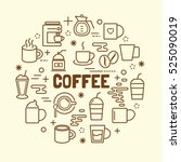 coffee minimal thin line icons... | Shutterstock .eps vector #525090019