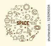 space minimal thin line icons... | Shutterstock .eps vector #525090034