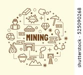 mining minimal thin line icons... | Shutterstock .eps vector #525090268