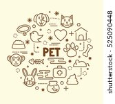 pet minimal thin line icons set ... | Shutterstock .eps vector #525090448