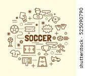 soccer minimal thin line icons... | Shutterstock .eps vector #525090790
