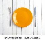 Orange Plate Fork Knife Vintag...