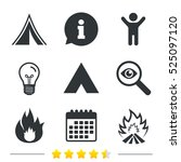tourist camping tent icons....   Shutterstock .eps vector #525097120