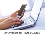 woman's hands using laptop and... | Shutterstock . vector #525102388